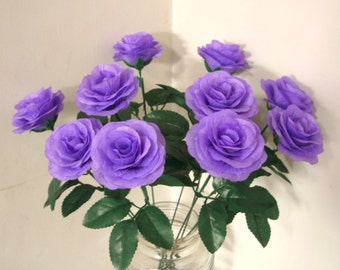 Silk Flowers,Purple Violet Silk Rose Bush with 15.7 Inch Stems Fake Artificial Fabric Rose Bouquet,Wedding Aisle decor,Flower Arrangements