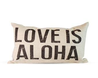 12x20in Love Is Aloha Burlap Style Linen Lumbar Pillow Cover