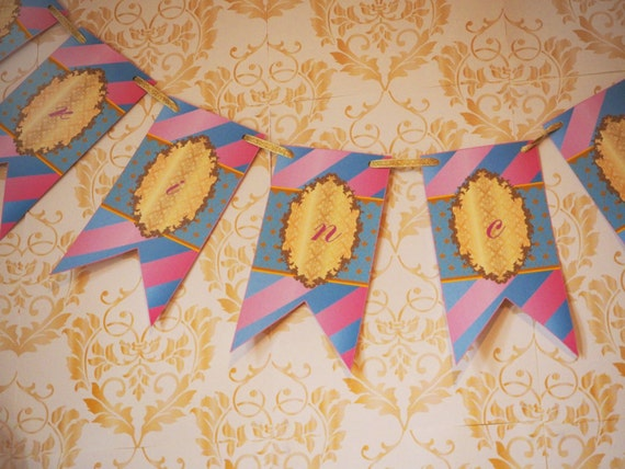 PRINCESS - PERSONALISED - Children - Birthday - Party - Pink - Gold - Blue - Bunting - Baby - Girls - PRINTABLE - Pdf - Digital