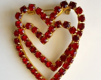 SALE Hearts Brooch Valentine Brooch Red Rhinestones Entwined Hearts Lovers Hearts