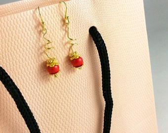 SALE**Gold Plated 925 Sterling Silver & Red Turquoise Earrings