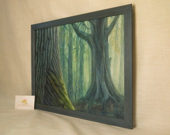"original artwork painting, fantasy landscape illustration ""Bark"" with raised painting, framed,  13,3"" x 17,3"""