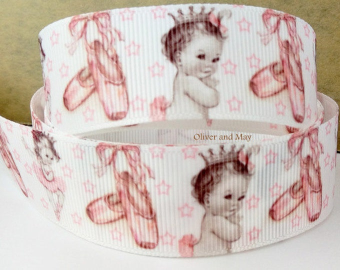 "Ballerina Ballet Shoes Baby Princess Ribbon 22mm 7/8"" grosgrain By the Yard"