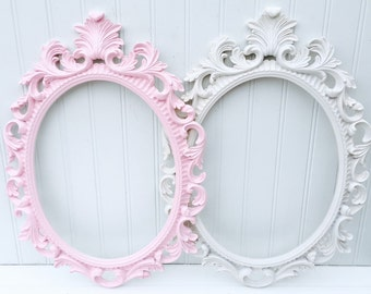 Baroque Style Picture Frame - Shabby Chic Frame - Oval Picture Frame - Wedding Prop - Nursery Decor - Backless Frame