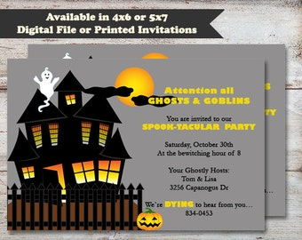 Haunted House Halloween Party, Haunted House Party, Halloween Party, Costume Party, Halloween Invitation, Digital File or Printed Invitation