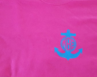 Anchor monogram t-shirt- Youth and Adult available - Cute - Preppy - Summer Shirt!