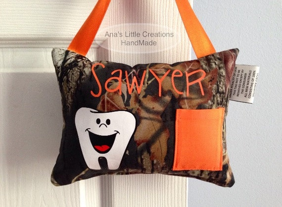 Camo Tooth Fairy Pillow, Tooth Fairy Pillow with name,Personalized Tooth Fairy Pillow, Mossy Oak Tooth Fairy Pillow