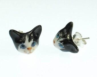 Cat Earrings Porcelain & Silver
