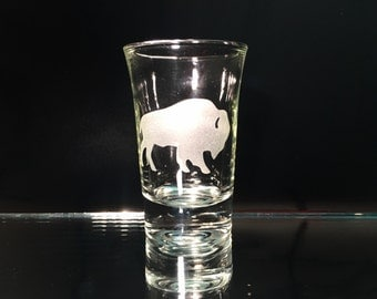 Buffalo Shot Glasses - Buffalo NY - Buffalo Decor - Etched Buffalo Glasses - Buffalo Barware - Buffalo NY Home Decor - Buffalo