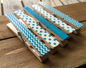 Blue Clothespin Magnets, Decorated Clothespins, Set of Five