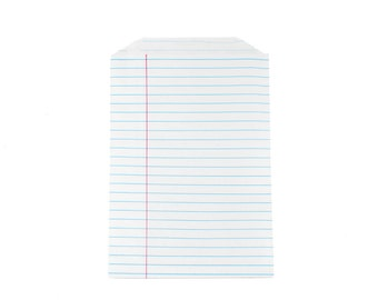 NOTEBOOK PAPER BAGS (Set of 12) - Notebook Paper Lined Pattern (20.5cm x 12.9cm)