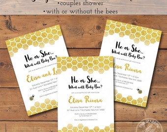 NEW Bumble Bee Gold Honeycomb Gender Reveal Baby/Couples Shower Invite