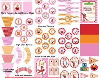 Pink Elmo 2nd Birthday, Girl Sesame Street Birthday, Pink Elmo Party Printable, Pink Elmo Birthday Theme, Girl Elmo Party -Printables 4 Less