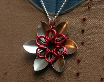 Red and Silver Scalemaille Flower Necklace