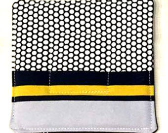 Set of eight black/white/yellow drink mats/coasters - IKEA canvas fabric