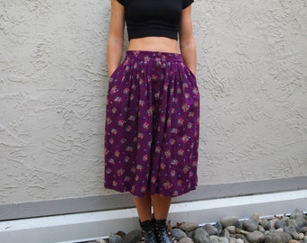 Purple Midi Length floral skirt