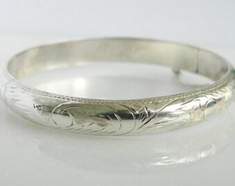 Vintage Sterling Siler Intricate Etched Design Bracelet