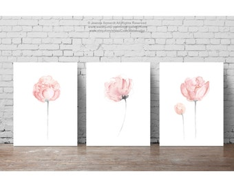 Shabby Chic Flower Watercolor Painting Decor, Baby Girl Nursery Kids Room Art Print, Floral Newborn Gift Idea, Peony Flowers Clipart set 3