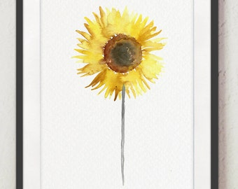 Sunflower Floral Display Yellow Brown Gray Watercolor Painting, Abstract Kids Nursery Room Flower Art Print, Woman Minimalist Illustration