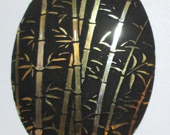 Large Vintage Brass Stamping of Bamboo