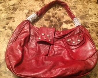 one-handle red leather handbag