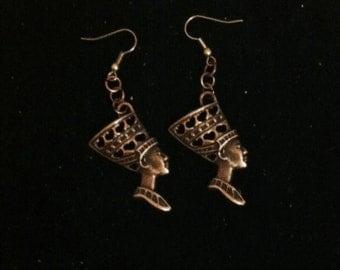 Bronze Egyptian Style Earrings, Nephertiti Earrings, Queen of the Nile, Ready to Ship