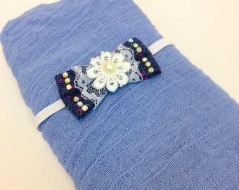 NEW....Blue Denim Cheesecloth Baby Wrap Set, Wrap and Headband, Bow Headband,  Newborn Photo Prop, Swaddle Wrap, Layering Fabric.