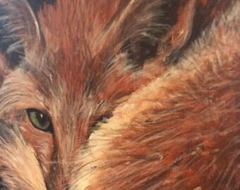 Original acrylic painting of fox, canvas square  20 cm x 20 cm.