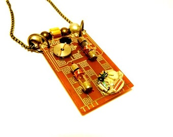 """Caramel Circuit board cyberpunk """"Cybernetics"""", techie statement jewelry, motherboard, glass fuses, part of electronic clock, free shipping"""
