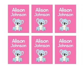 80 Iron On Clothing Name Labels, Kids Clothing Labels, Personalize Uniform Name Labels - Baby Clothing Koala