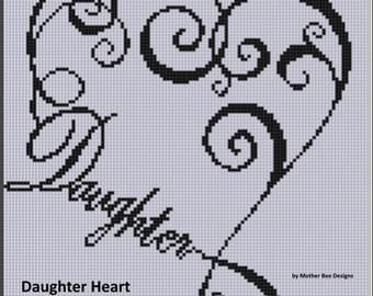 Daughter Heart Cross Stitch Pattern