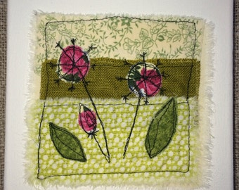 Floral design Machine embroidered box canvas wall art
