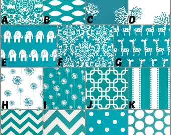 Custom Crib Bedding, Nursery, Home Decor / Design Your Own / Crib Bumper, Skirt, Sheet, Changing Pad Cover / Premier Prints / True Turquoise