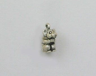 925 Sterling Silver Hamster Charm, Animals & Pets Theme Jewelry - ani07