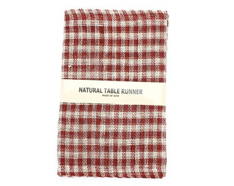 """Checker Burlap Table Runner 14"""" x 72"""" red and ivory finished edges. Good for rustic weddings, finish edges, catering, home decor(BMC-R11)"""