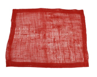 """Red 13""""x17"""" Burlap Placemat Set of 6  Looks great on a dinner table and banquet tables for special events. (BH-P11)"""