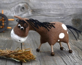 Needle felted brown horse - MADE TO ORDER -  Needle felted animal - Soft sculpture - Fiber art -Home decor - Gift