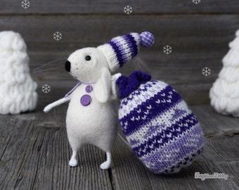 Needle felted Mouse - Rat - Christmas - Fiber art - Home decor - Gift