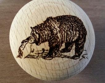 Rustic Decor Laser Engraved Kodiak Bear Wooden Knob