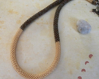 Golden bead crochet necklace crochet chain beaded crochet crocheted beaded jewelry