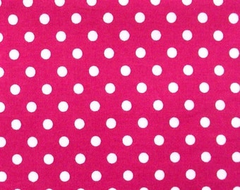 Pink polka dot fabric-5mm pink, cerise and white spotty, dots,