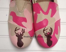 Hand Painted Pink Camo Monogram Slip On Shoes~Womens Camo Shoes~Hunting Life Shoes