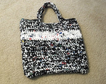 Tote made from recycled plastic bags (plarn). Black/white with white stripe....Free shipping!