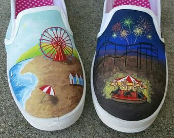 Beach Boardwalk & Fair custom shoes; size 10 women's
