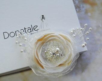 Bridal Headpiece, Rustic Wedding Hair piece, Bridal hair flower ,Bridal hair piece, Bridal hairpiece, Dusky pink Champagne  - VITTORIA
