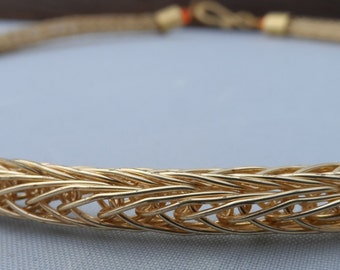 16 Inch Gold Viking Chain Knit Necklace