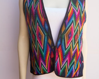 Brightly Colored Peruvian/Ecuadorian Embroidered Denim Vest