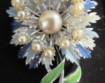 Vintage 1950's Flower Brooch With Pearls - Very Sweet!!!