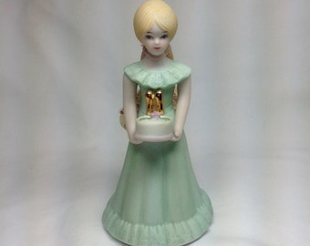 Vintage Enesco Growing Up Birthday Girl Age Eleven 11 Porcelain Figurine Gift Cake Topper Green Dress Cake w/ Flowers Gold Numbers