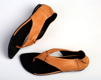 Leather Sandals, Camel Sandals, Summer Flats, Handmade Sandals, Barefoot Sandals, Orange Sandals, T-strap Sandals, Brigitte